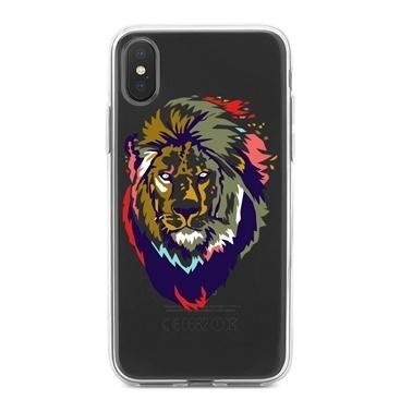 Lopard iPhone Xs Max Kılıf Silikon Arka Koruma Kapak Aslan Silüeti Desenli Renkli